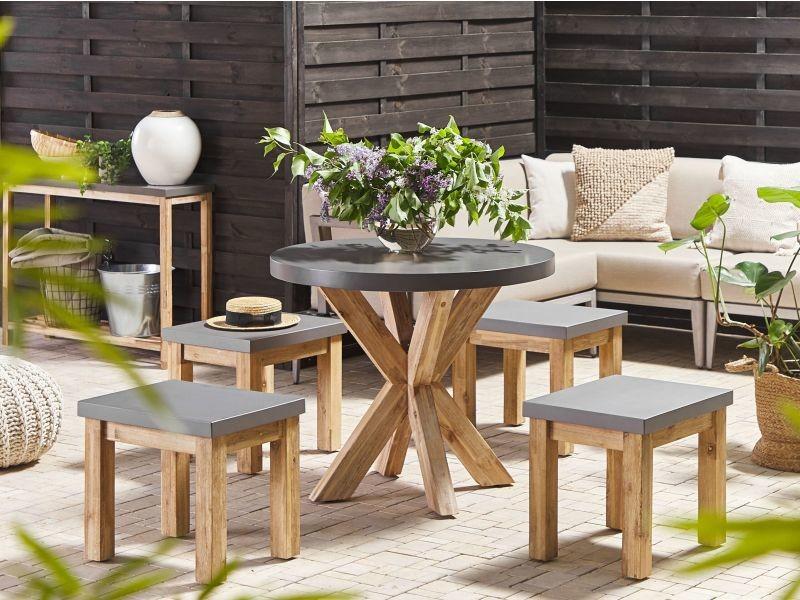 Table de jardin ronde en fibre-ciment gris et bois ø 90 cm olbia 263242