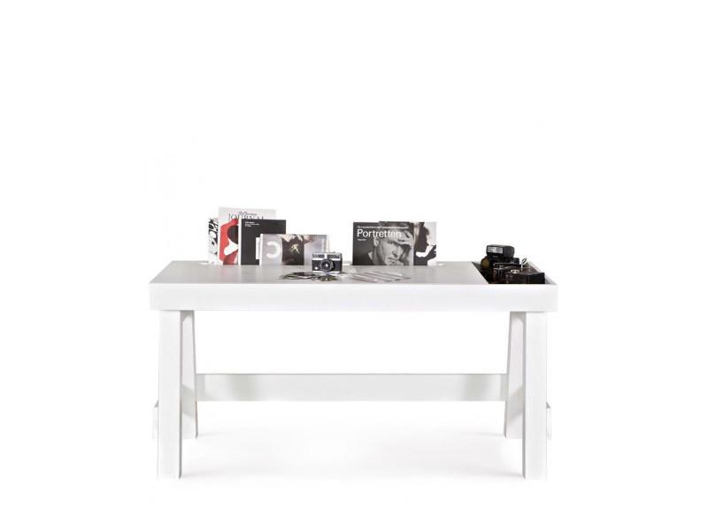 Bureau en bois fsc avec rangement groove couleur blanc