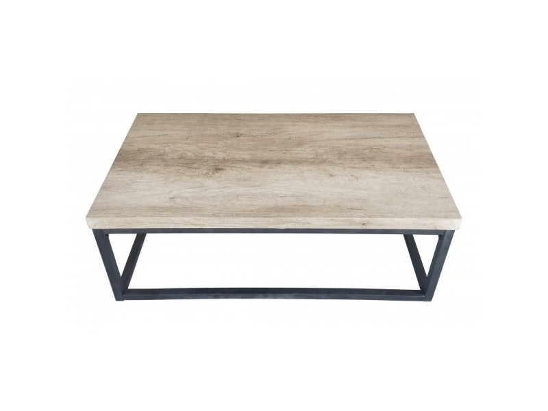 Table basse hawaï plateau en bois clair, pieds en acier. Idéal pour votre salon.
