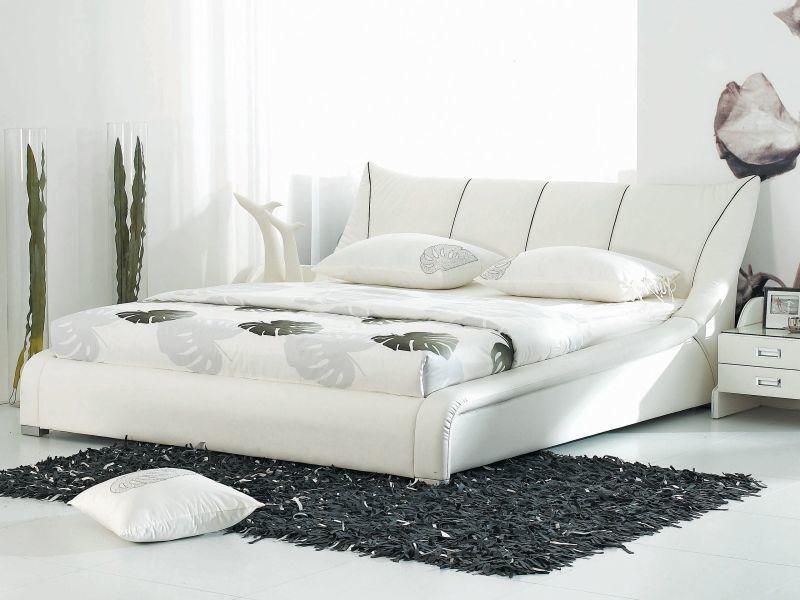Lit double design en cuir blanc 180 x 200 cm nantes 2166