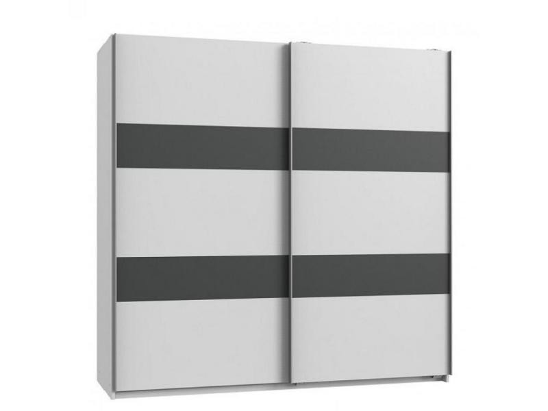 Armoire de rangement aude portes coulissantes 179 cm blanc mat rechampis graphite 20100890995