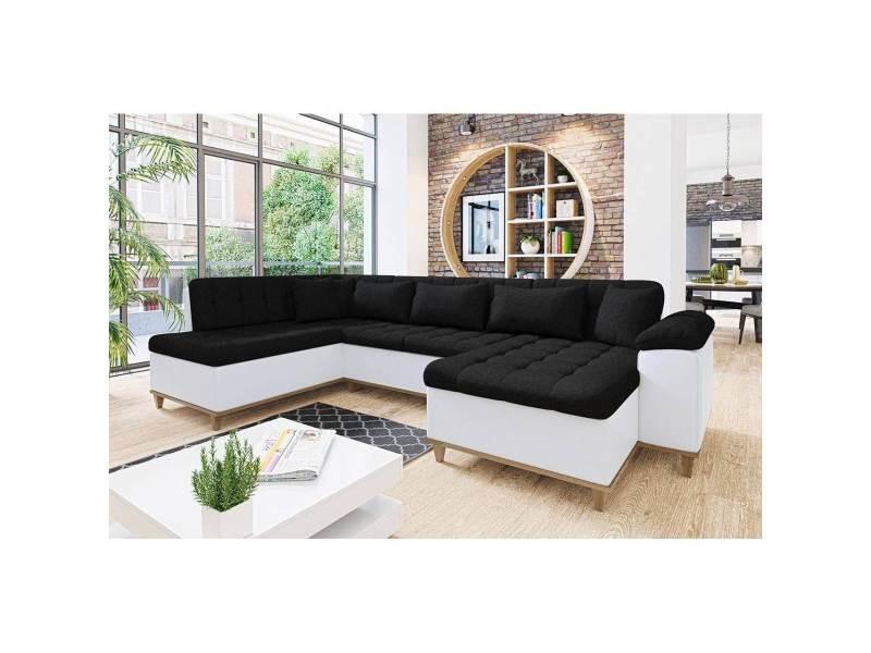 Mina - canapé d'angle convertible en tissu noir et blanc- angle droit