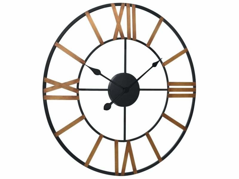Horloge murale doré et noir 80 cm métal dec022229