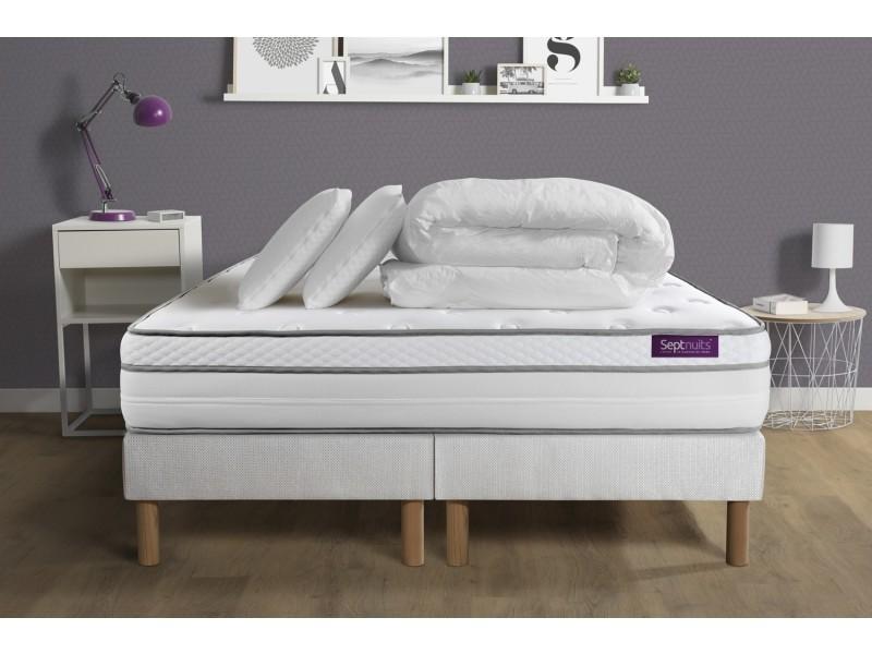 pack matelas 160x200 double sommiers 80x200 memo luxe ressorts ensach s m moire de forme 5. Black Bedroom Furniture Sets. Home Design Ideas