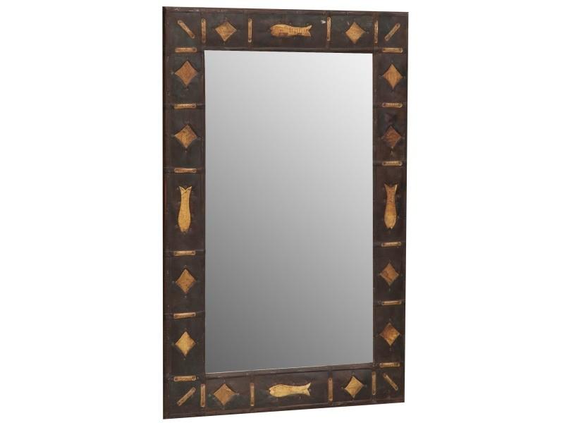 Miroir, long miroir mural rectangulaire, à accrocher au mur, horizontal et vertical, shabby chic, salle de bain, chambre, cadre finition bois couleur, grand, long, l61xp3xh93 cm. Style shabby chic.