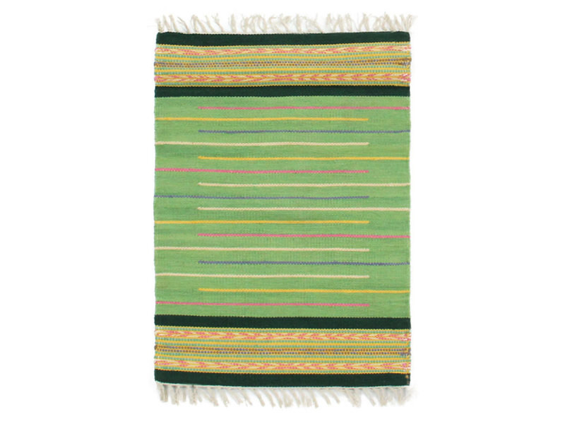 Rainbow - tapis 100% coton tissé à franges vert 60x90