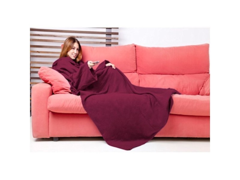 couverture polaire avec manches bordeaux vente de plaid et couverture conforama. Black Bedroom Furniture Sets. Home Design Ideas