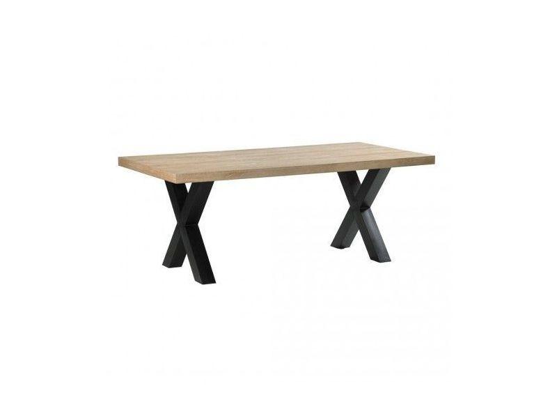 Table à manger plateau bois 200 cm essential