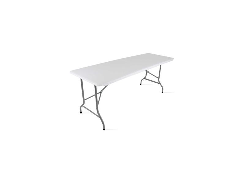 Table pliante 180 cm 8 places acier blanc