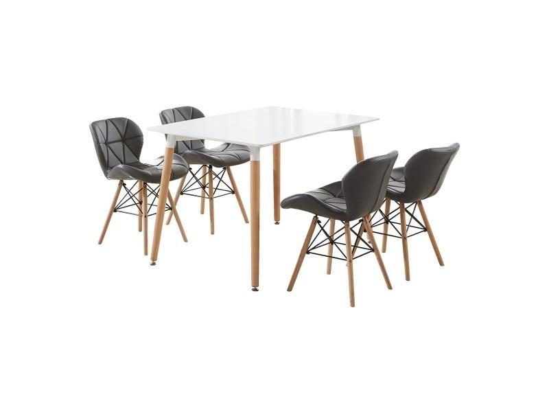 Ensemble table blanche design scandinave + 4 chaises gris en simili cuir - cecilia halo