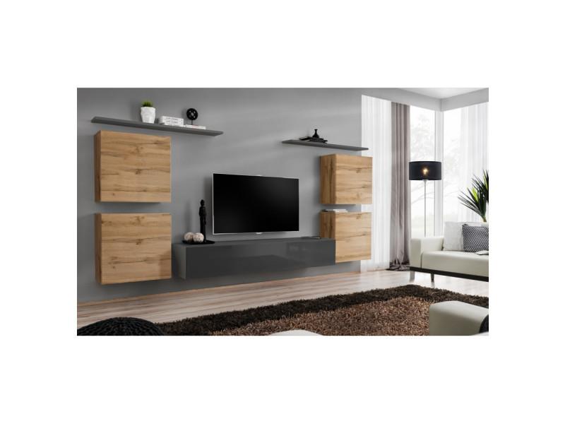Ensemble mural - switch iv - 1 vitrine - 1 banc tv - 2 étagères - bois et graphite - modèle 1