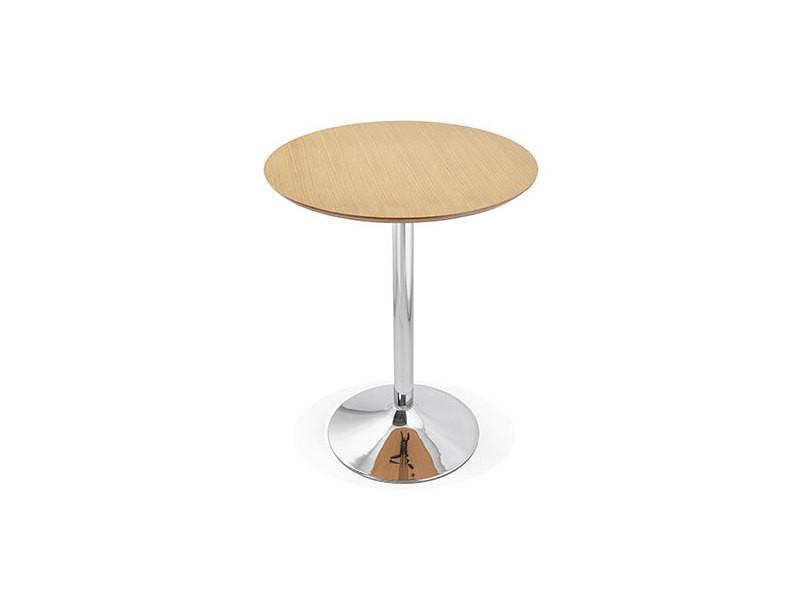 Table de bar ronde 90 cm plateau naturel et pied métal - barman
