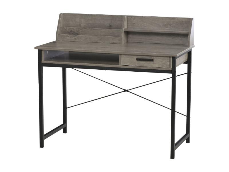 Bureau secrétaire style industriel dim. 106l x 53l x 95h cm tiroir, compartiment, 3 étagères châssis métal noir plateau aspect bois gris