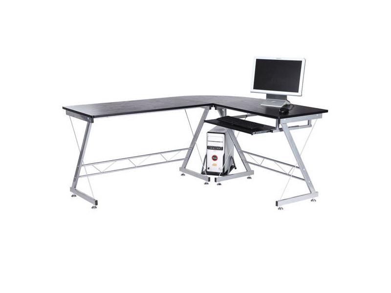 bureau d 39 informatique angle pour ordinateur meuble table de travail plateaux noir avec veine de. Black Bedroom Furniture Sets. Home Design Ideas