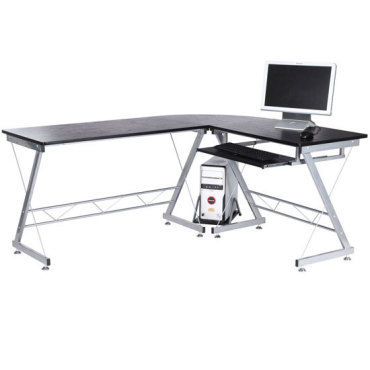 Bureau d 39 informatique angle pour ordinateur meuble table de travail plateaux noir avec veine de - Meuble bureau informatique conforama ...