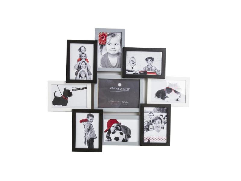 Pêle-mêle tricolore - 9 photos - noir gris et blanc