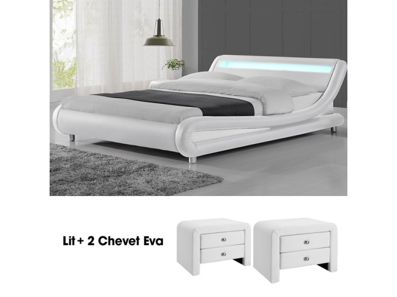 Lit design julio140 avec 2 tables chevet eva en blanc