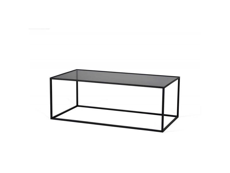 Table basse industrielle rectangulaire métal et verre montero / coloris : noir