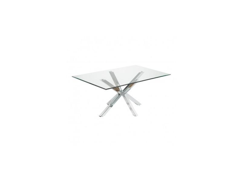 Table à manger rectangulaire 180 cm verre et chrome idol