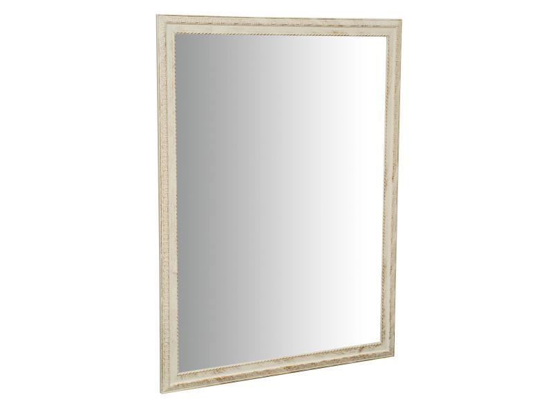 Miroir, long miroir mural rectangulaire, à accrocher au mur, horizontal et vertical, shabby chic, salle de bain, chambre à coucher, cadre finition blanc antique, grand, long, l90xp3xh120 cm. Style shabby chic.