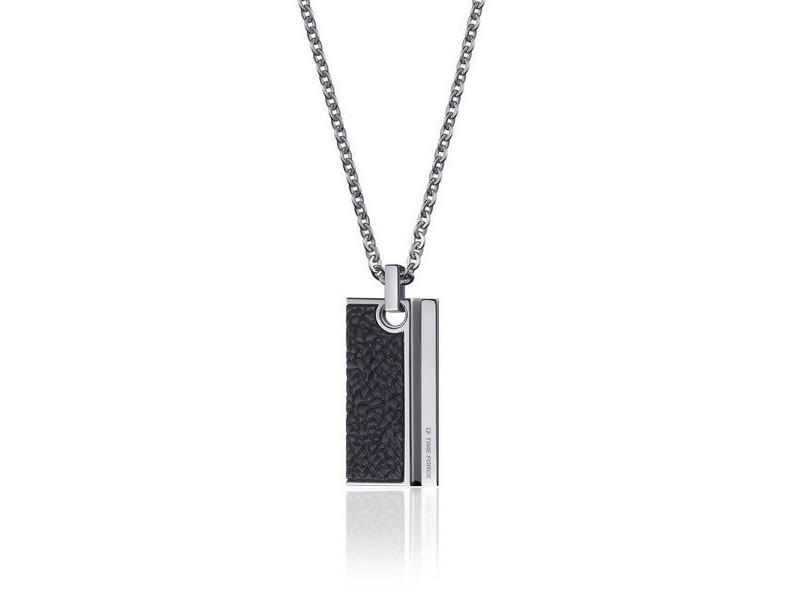 6132f614ee683 Pendentif en acier noir pour homme (50 cm) - idée cadeau homme bijou ...