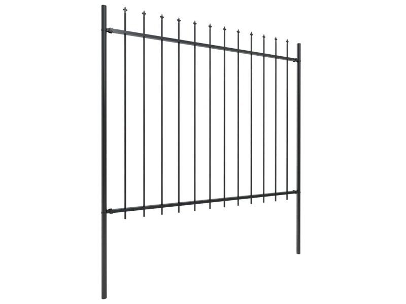Vidaxl clôture de jardin avec dessus en lance acier 15,3 x 1,5 m noir 277637