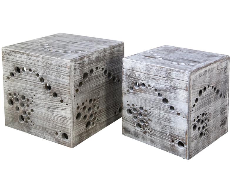 Lot de 2 poufs en bois coloris gris - dim : 45 x 45 x 45 cm/ 41 x 36 x 36 cm -pegane-