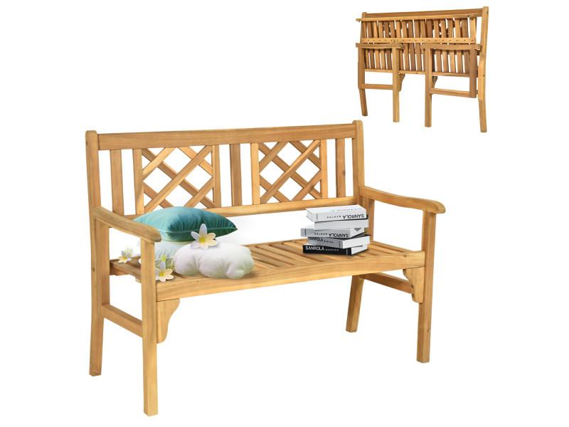 Banc de jardin en teck giantex pliable bois 120x56x90 cm à 2 places dossier incurvé et accoudoirs pour terrasse balcon ou jardin