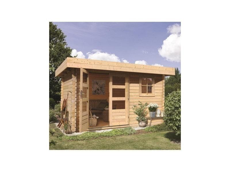 Abri de jardin toit plat 9m en bois brut 28mm halamir for Abri jardin bois 28mm