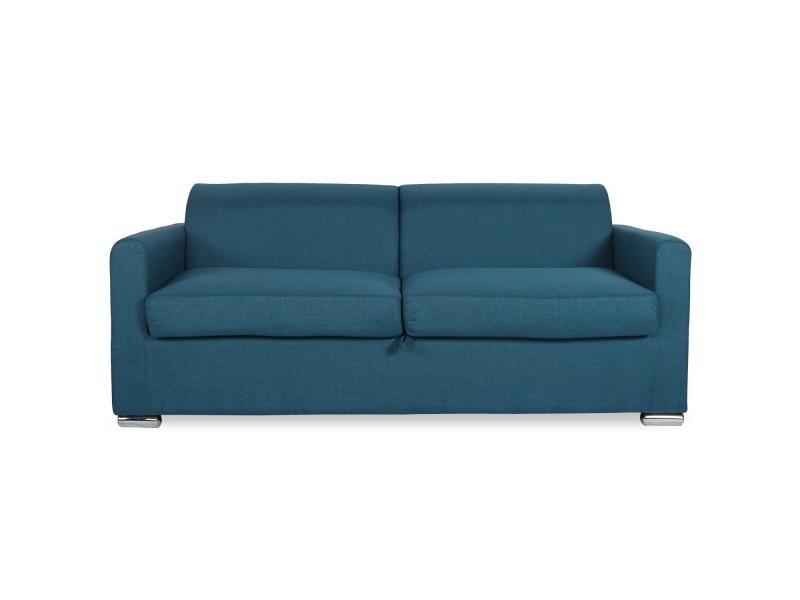 Canapé convertible ouverture express avec matelas luc tissu bleu canard
