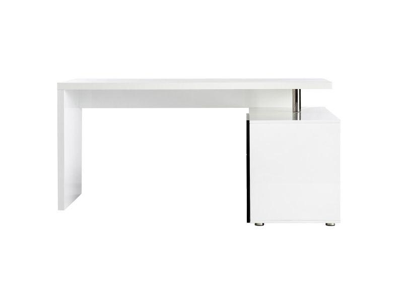 Bureau design blanc et noir laqué rangements à droite maxi vente