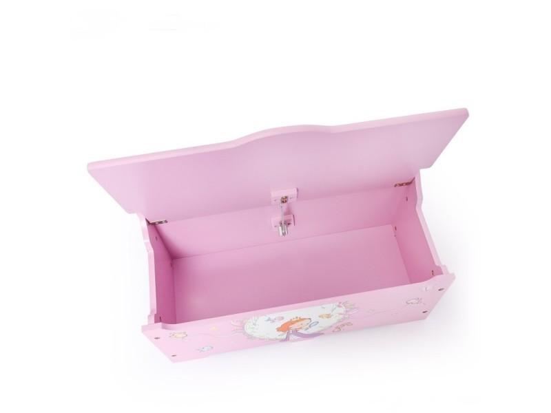 Coffre à jouets en bois meuble chambre enfant motif princesse ...