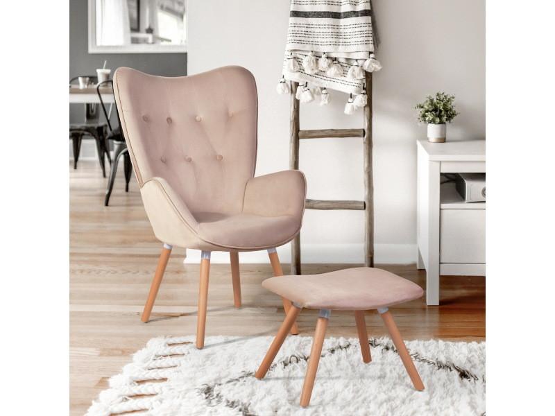Fauteuil relax chaise longue haut dos velours rose avec repose-pieds pouf