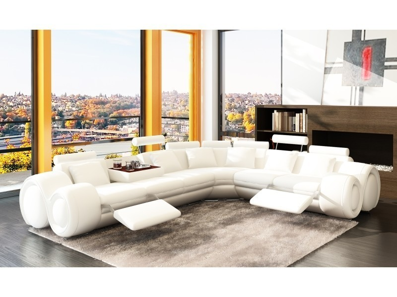 Canapé d'angle cuir design blanc + positions relax oslo (angle droite)-
