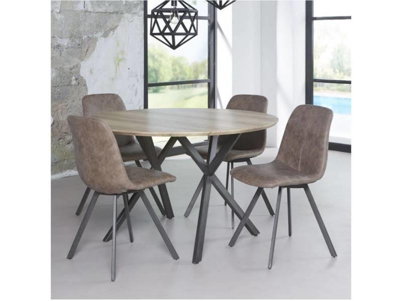 c31a335f7b3a8c Table repas diego 120cm plateau effet chêne antique piétement acier noir  20100880666 - Vente de Table basse - Conforama