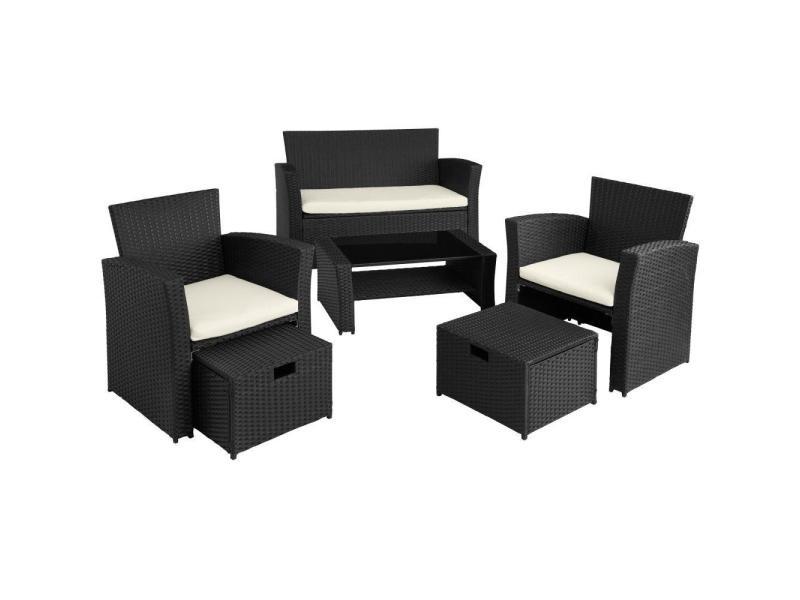 Salon de jardin rotin résine tressé synthétique 4 places avec housse de protection noir helloshop26 2108080