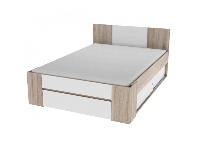 lit avec rangement en bois 140x190 200 ch ne bross et. Black Bedroom Furniture Sets. Home Design Ideas