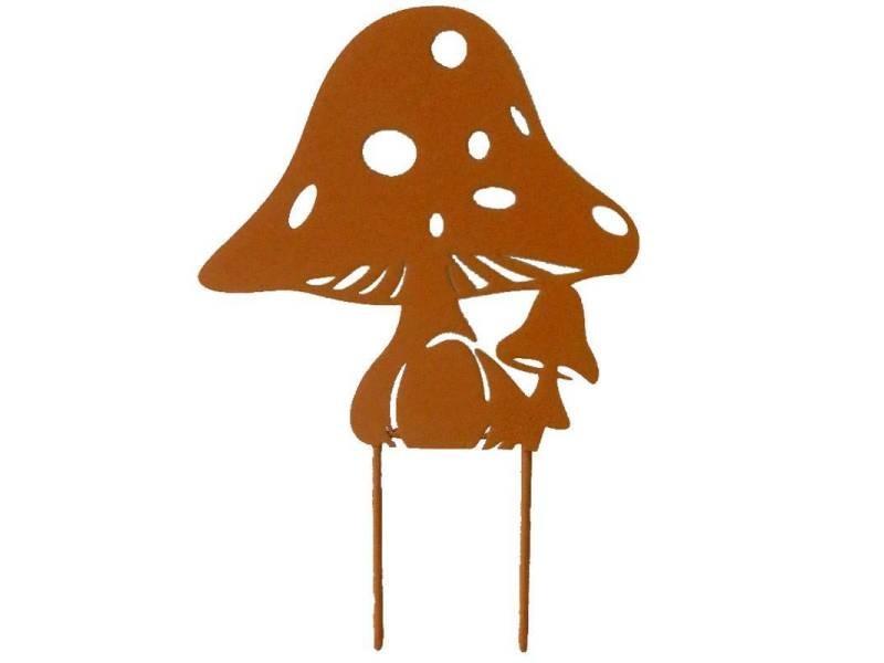 Tuteur pic de jardin motif champignons plaque décorative à piquer en métal marron 15x22,5cm