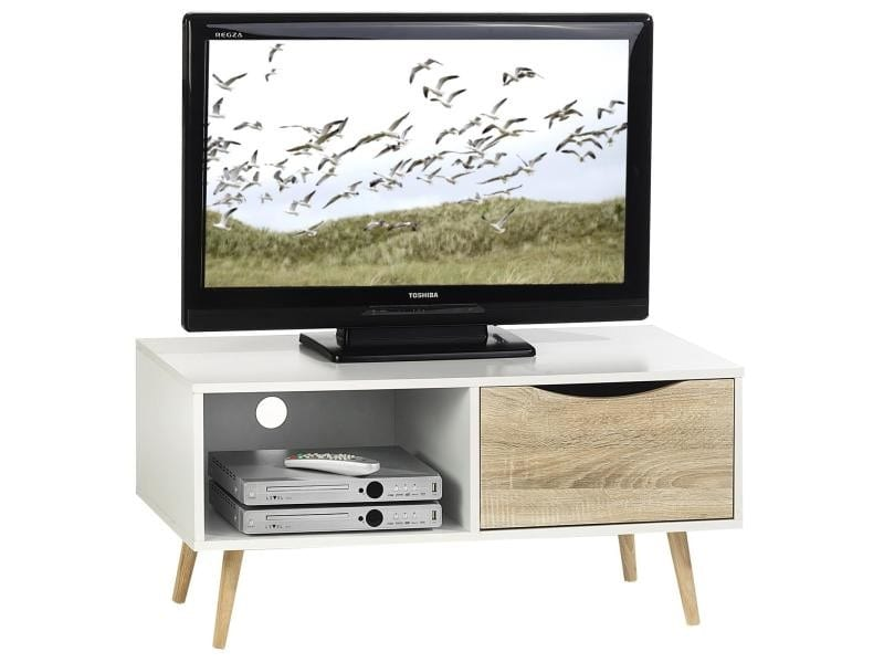 meuble tv tag res et tiroir mdf d cor blanc sono vente. Black Bedroom Furniture Sets. Home Design Ideas
