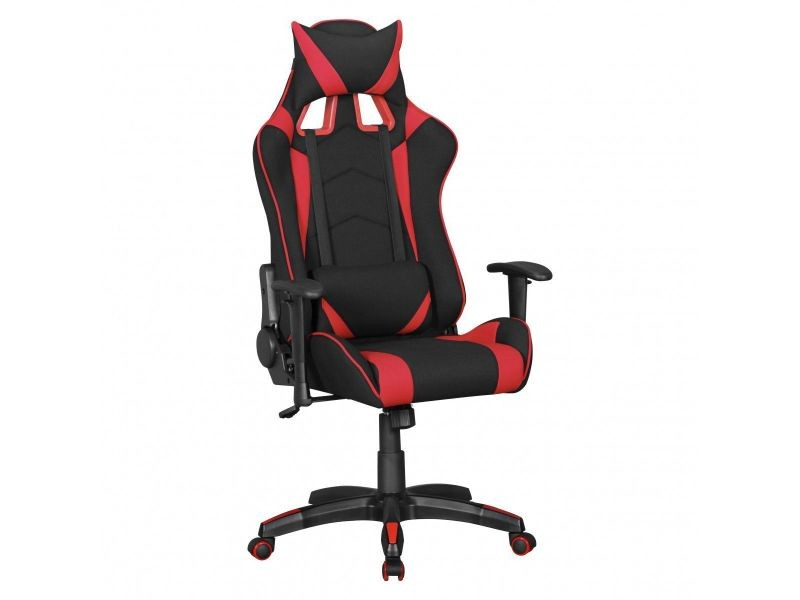 Chaise de bureau gamer design en tissu coloris noir et rouge
