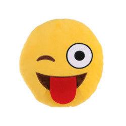 Peluche coussin emoji clin d'oeil