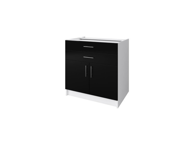 Obi caisson bas de cuisine avec 2 portes, 2 tiroirs l 80 cm - blanc et noir laqué brillant