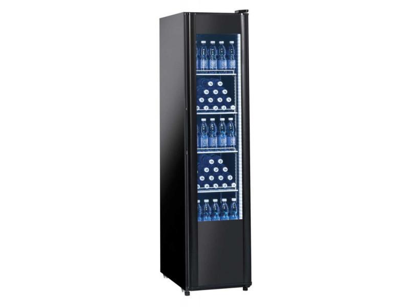 Armoire à boissons réfrigérée 300 litres noire - porte vitrée - r600a 1 porte vitrée