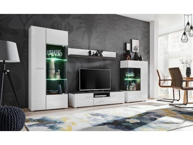 Ensemble meuble tv capone noir mat/blanc laque 310 cm