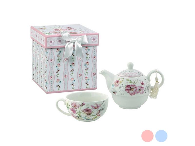 Tasses originales stylé couleur rose jeu de théière 116144 fleurs blanche rose