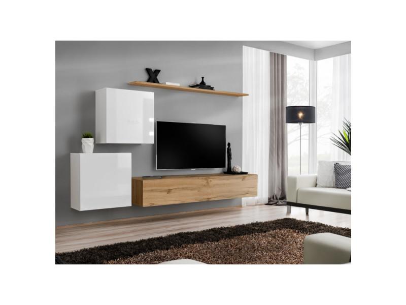 Ensemble mural - switch v - 1 vitrine carrée - 1 banc tv - 1 étagère - bois et blanc - modèle 2