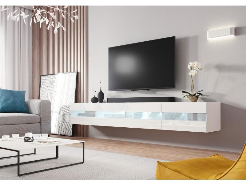 Meuble tv casablanca 2 (200 cm) blanc et blanc brillant avec l'éclairage à la led
