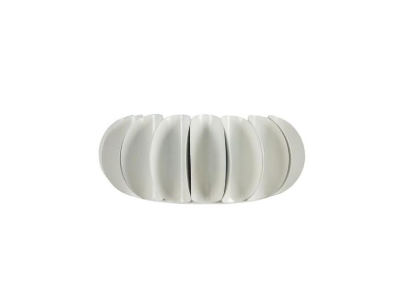Tiago applique disques tôle acier plissés 30x11x12 cm blanc