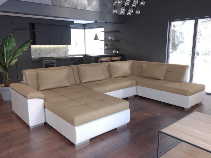 Canapé d'angle en u panoramique convertible lemon beige et blanc