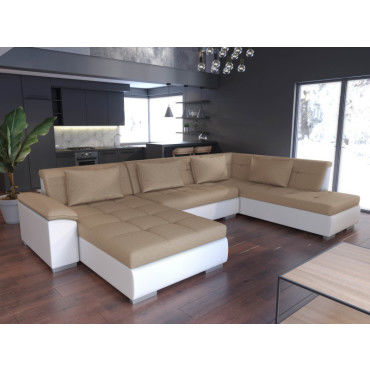 canap d 39 angle en u panoramique convertible lemon beige et blanc vente de sans marque conforama. Black Bedroom Furniture Sets. Home Design Ideas